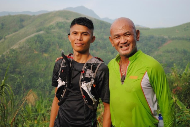 At the Peak of Mt. Miyamit.  The Bald Runner with Filipino elite runner, Gerald Sabal who will be competing at the HongKong Ultramarathon.